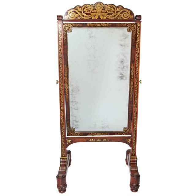 English Regency Rosewood Brass Inlay Boulle Work Cheval Mirror - Image 11 of 11