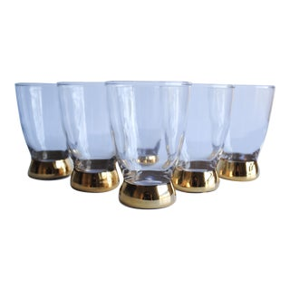 Mid-Century Gold Base Glasses - Set of 6