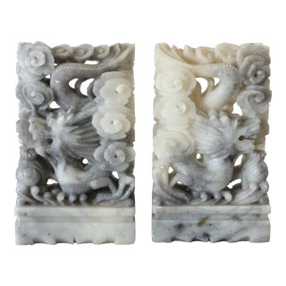 Chinoiserie Carved Soapstone Dragon Bookends - Pair