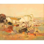 """Image of """"Red Docks by the Marina"""" French Oil Painting by Sokol"""