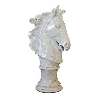 A monumental and expressive Italian majolica mid-century white-glazed horse head