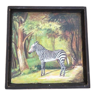 Antique Wooden Tray With Zebra Painting
