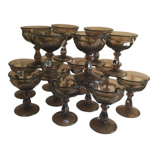Mid-Century Smoky Topaz Champagne Cocktail Glasses - Set of 16