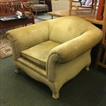 Image of Two Upholstered Roll Arm Chairs & Ottoman