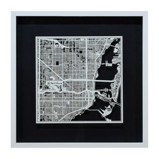 Sarreid Ltd. Miami Framed & Matted Map