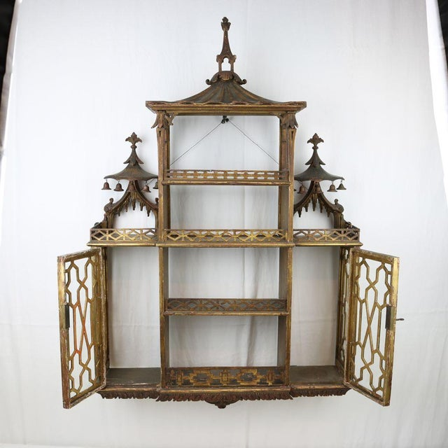 Chinese Chippendale Hanging Pagoda Wall Shelf - Image 8 of 11