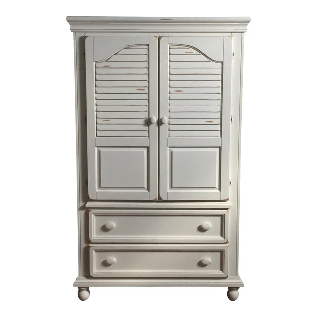 Shabby Chic White Wood Armoire - Image 1 of 4