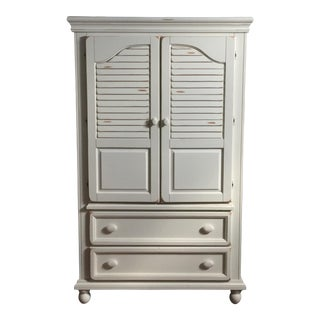Shabby Chic White Wood Armoire