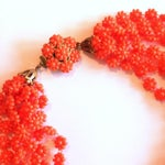 Image of Citrus Orange 8-Strand Plastic Necklace 1960s