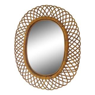 Vintage Franco Albini Rattan Large Mirror