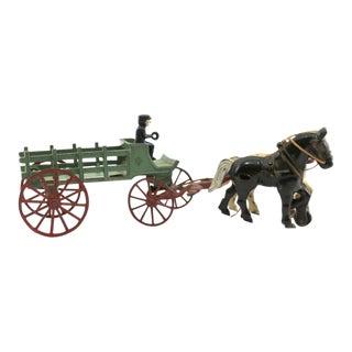 1920s Cast Iron Horse & Wagon Toy by Kenton Hardware Co