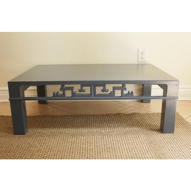 Chinoiserie Navy Blue Wood Carved Low Coffee Table - Image 3 of 8