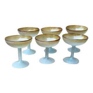 Vintage Hand Blown Mexican Glass - Set of 6 Margarita/Champagne Glasses