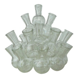 Vintage Clear Glass Stacked Cluster Bud Vase - 2 Pieces