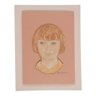 Pink Pastel Portrait Drawing