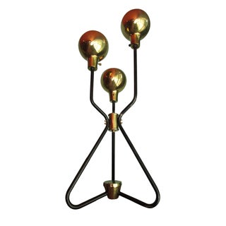 Vintage Mid-Century Hairpin Leg Brass Ball Table Lamp