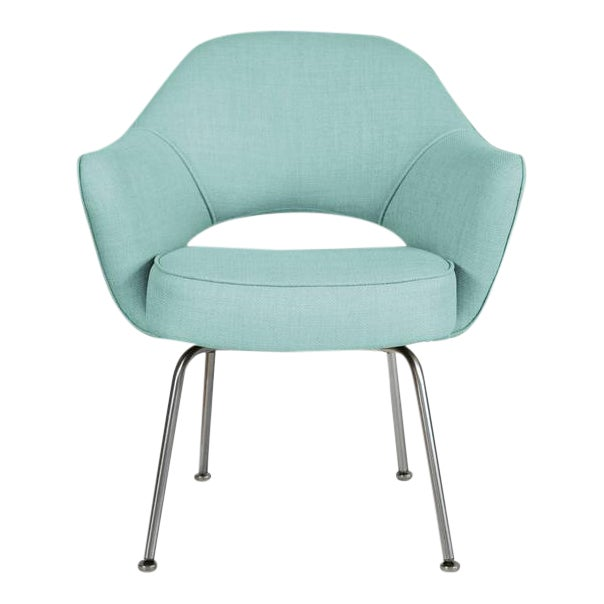 Saarinen Executive Armchairs in Powder Blue Woven-Microfiber, Set of Six - Image 1 of 5