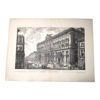 """Antique Architectural Lithograph After Piranesi, """"Veduta Del Palazzo Fabbricato Sul Quirinale"""""""