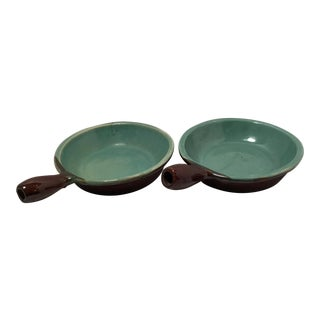 Mid-Century Turquoise Stoneware Bowls With Handles - a Pair