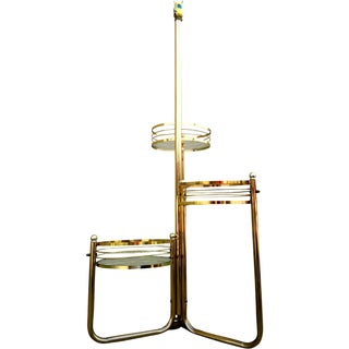 Mid-Century 3-Shelf Brass Floor Lamp