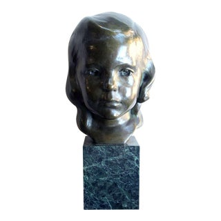 A Beautifully Rendered American Bronze Bust of a Young Girl by JG Kendall
