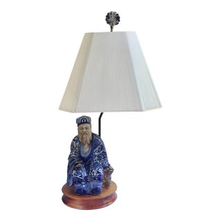 Vintage Blue & White Chinese Mud Man Figurine Lamp