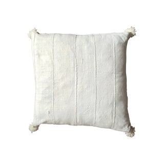 White African Mud Cloth Floor Pillow with Pom-Poms