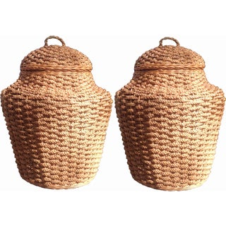 Giant Braided Seagrass Baskets - Pair