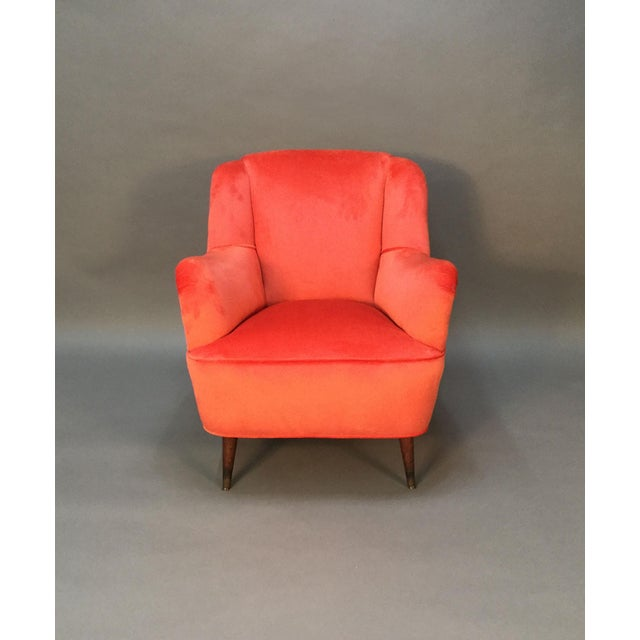 Mid Century Club Chairs With Velvet Pleat - Pair - Image 3 of 9