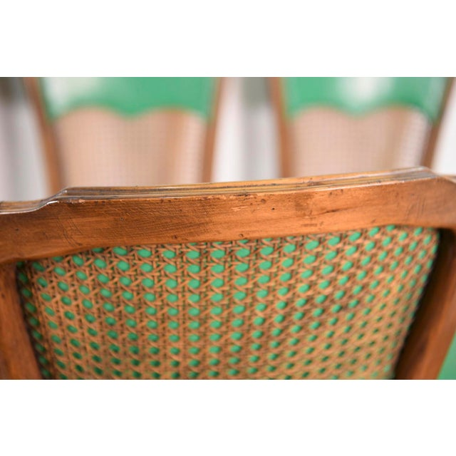 6 French Provincial Caned Dining Chairs-Green Leather Cushions - Image 3 of 8
