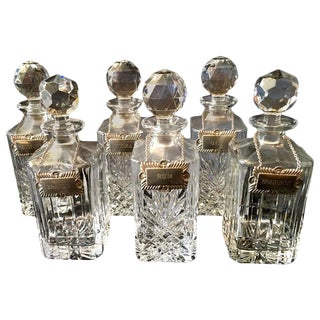 Silver Plate Labeled English Liquor Decanters - Set of 6