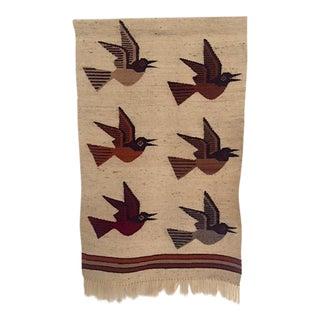 Mid-Century Modern 1960s Geometric Bird Tapestry
