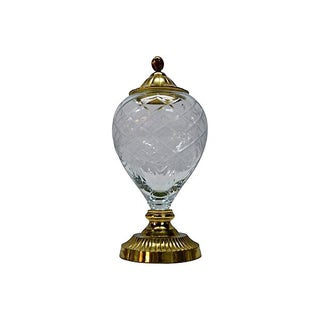 Vintage Cut Glass & Brass Lidded Jar