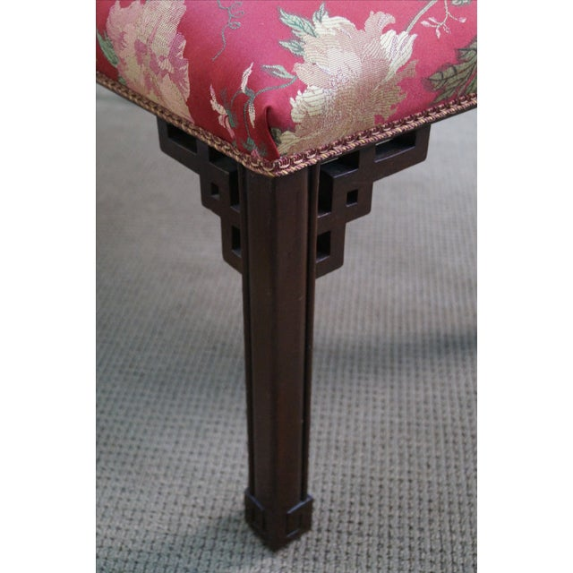 Vintage 1940s Mahogany Chippendale Style Bench - Image 10 of 10