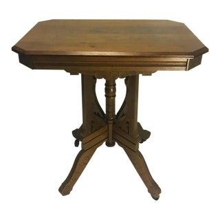 Antique Eastlake Victorian Carved Walnut Parlor End Table