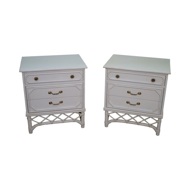 Image of Ficks Reed White Rattan Bamboo Nightstands - Pair
