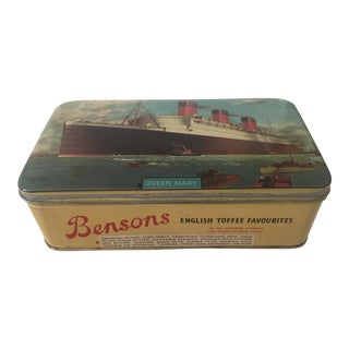 Vintage Mid-Century Queen Mary Bensons English Toffee Tin Box