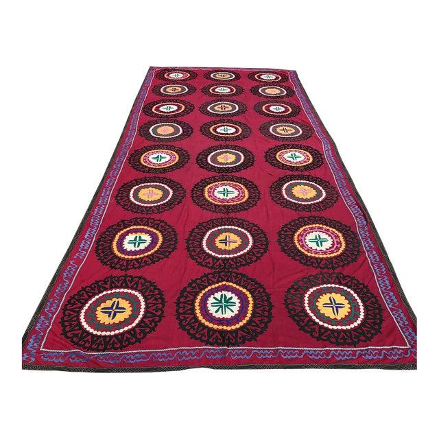 Oversized Vintage Suzani Tapestry - 14.8 x 6' - Image 1 of 6