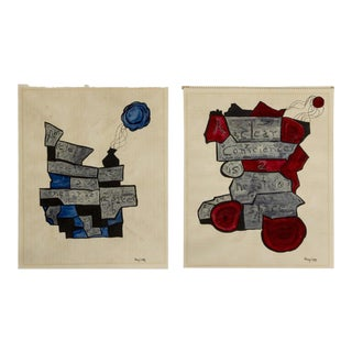 """A Clear Conscience Is a Negative Space"" Red & Blue Watercolors - Set of 2"