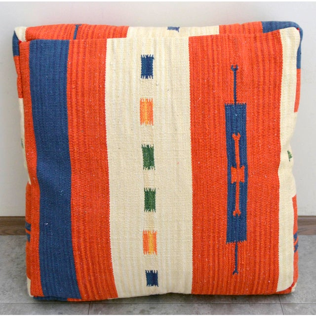 Turkish Hand Woven Floor Cushion Cover Cotton - 26″ X 26″ - Image 5 of 8