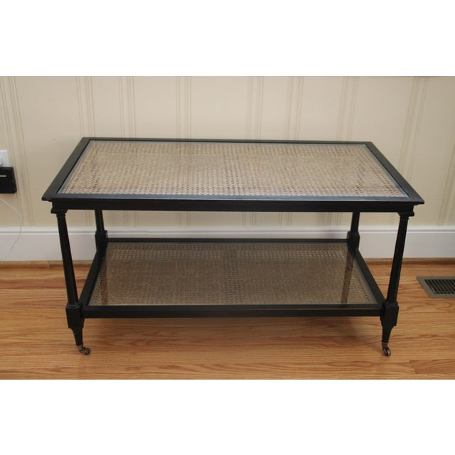 Cane Glass Top Cocktail Table Chairish