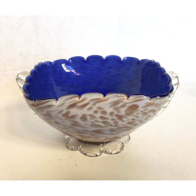 Image of Blue & Gold Blown Glass Bowl