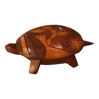 Vintage Wood Turtle Trinket Box