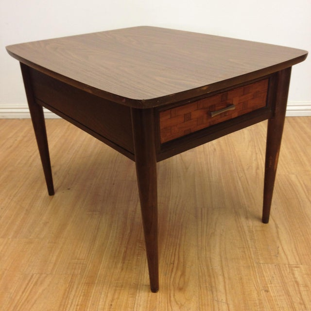 Mid-Century Woven Front & Formica End Table - Image 2 of 7