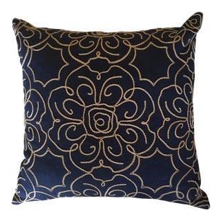 Navy Crewl Embroidered Pillow