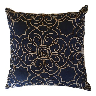 Navy Crewl Embroidered Pillow