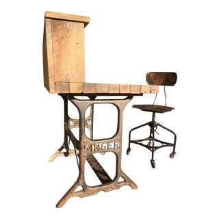 Industrial Wooden Desk & Chair