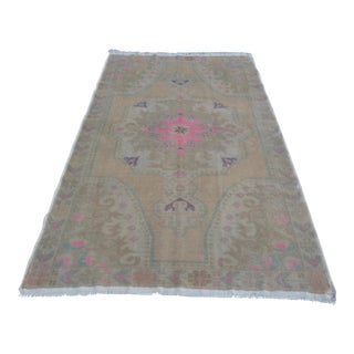 Antique Oushak Biege Tribal Carpet - 4′5″ × 7′3″