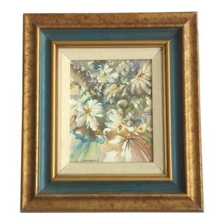 Framed 'Hazy Daisies' Watercolor