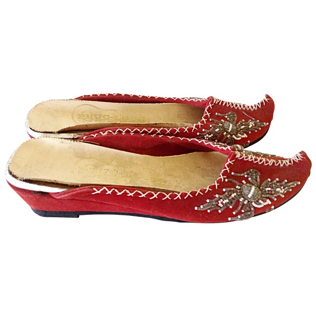 Image of Pair of Vietnamese Embroidered Slippers